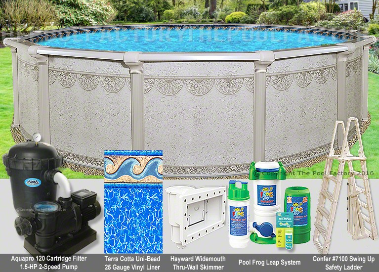 21 39 x52 hampton round pool package swimming pool kit for Pool packages