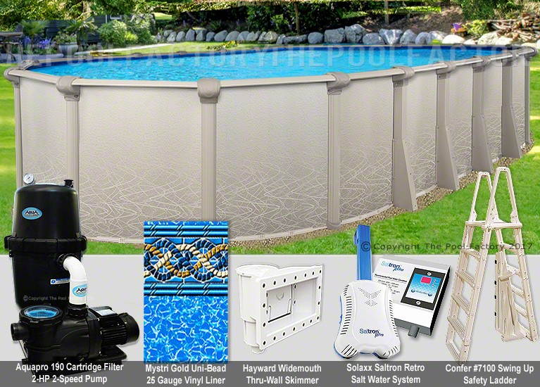 "15'x24'x52"" Saltwater 5000 Oval Pool Package"