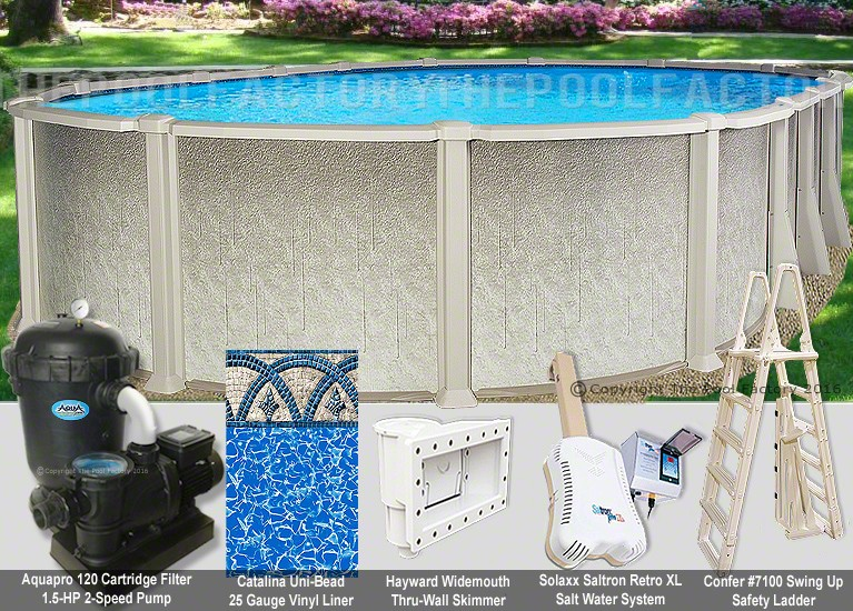 "12'x18'x54"" Saltwater 8000 Oval Pool Package"