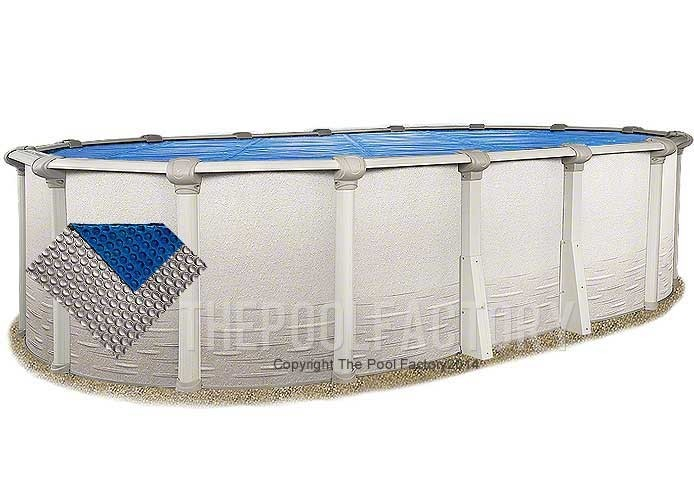 8'x14' Oval Space Age Silver/Blue Solar Cover