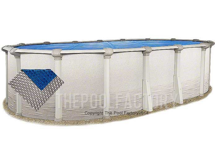 12'x24' Oval Space Age Silver/Blue Solar Cover