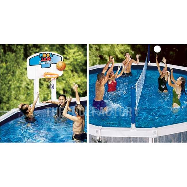 Swimline nt202 above ground pool jam combo basketball for Pool design for volleyball