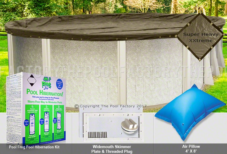 8'x12' Oval Super Heavy XXtreme Closing Package for Pool Frog System (WideMouth Plate)