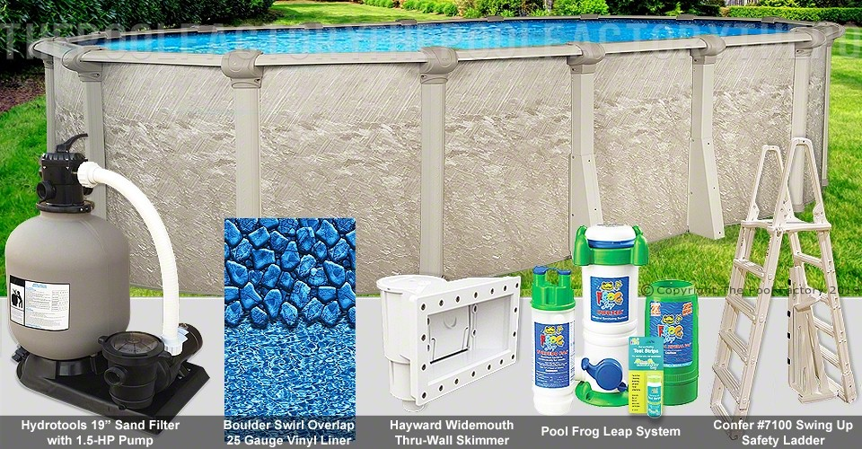 "15'x24'x52"" Cameo Oval Pool Package"