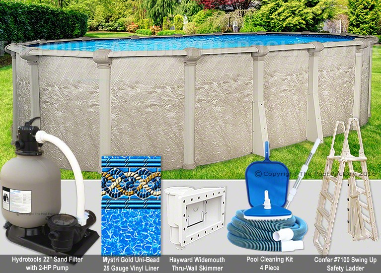 18 X33 X54 Quot Cameo Oval Pool Package Swimming Pool Kit