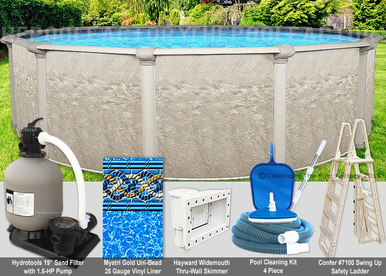 24 39 x54 cameo round pool package swimming pool kit for Pool packages