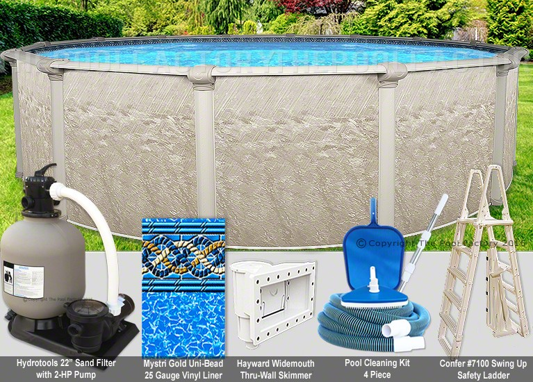 30 39 x54 cameo round pool package swimming pool kit for Pool packages
