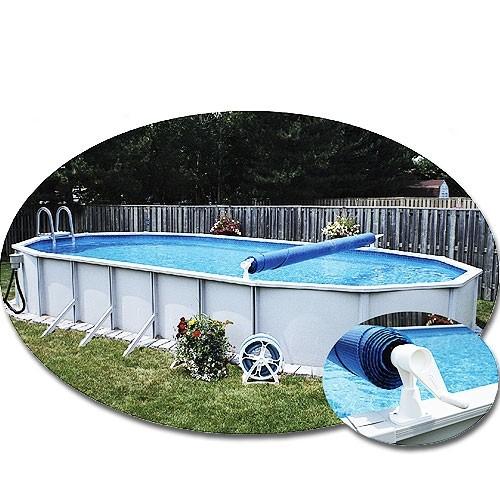 FeherGuard Premium Solar Cover Reel Installed on Oval Pool