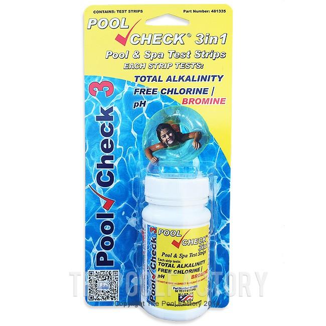 Pool Check 3 In 1 Chlorine Test Kit 50 Strips