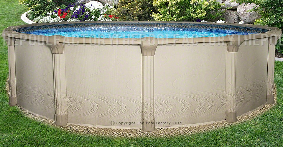 21 39 x54 quest round pool round semi inground pools for Installing pool liner in cold weather