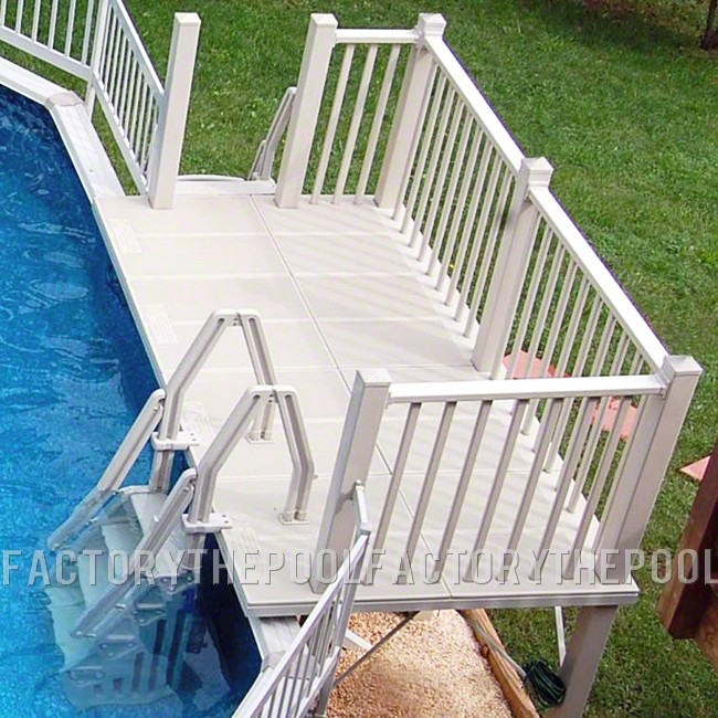 5X10 Resin Straight Side Pool Deck With In-Pool & Ground to Deck Steps - Close-Up View