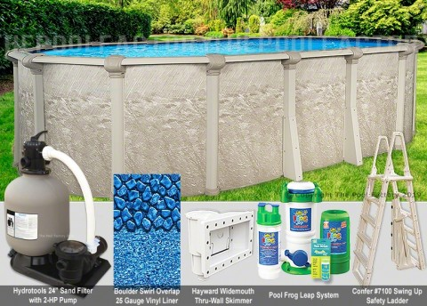 "18'x33'x52"" Cameo Oval Pool Package"