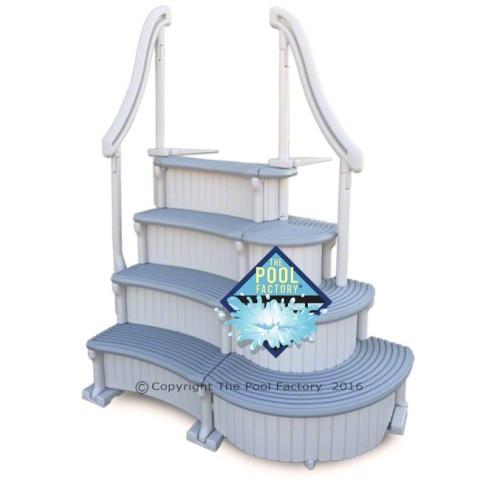 Confer Curve Deluxe Above Ground Pool Steps (shown with treads curving inward)