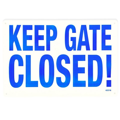 "18""x12"" Keep Gate Closed Sign"