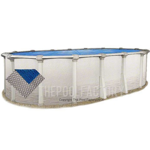 21'x43' Oval Space Age Silver/Blue Solar Cover