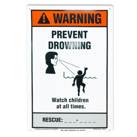 "12""x18"" Warning Prevent Drowining Sign"