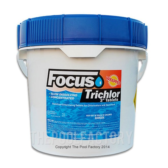"Focus 3"" Chlorine Tablets 10lbs - Stabilized & Slow Dissolving"
