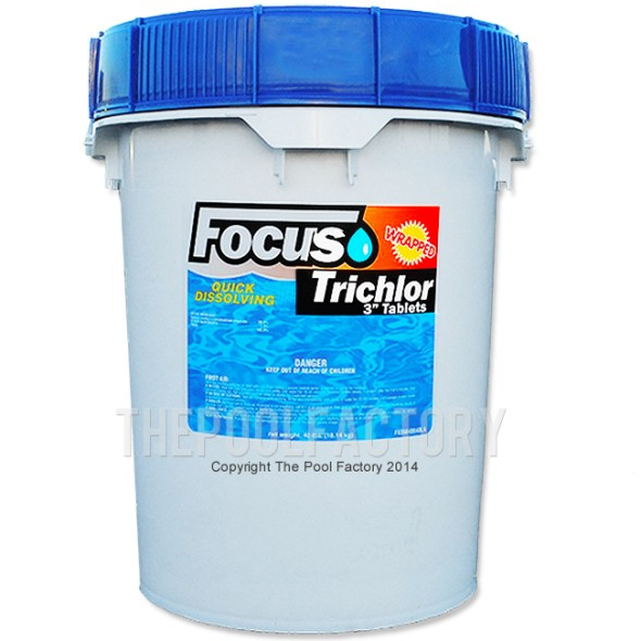 "Focus 3"" Chlorine Tablets 40lbs - Stabilized & Slow Dissolving"