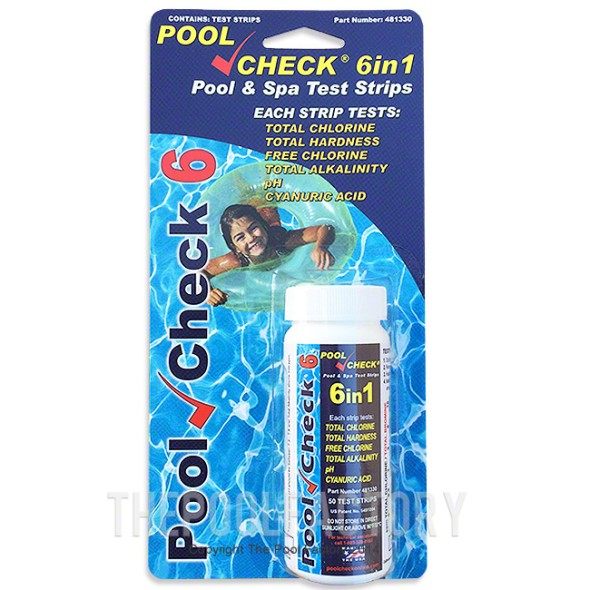 Pool Check 6 In 1 Chlorine Test Kit (50 Strips)
