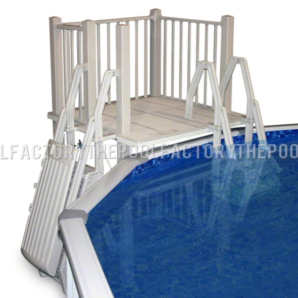 5'X5' Resin Pool Deck With In-Pool & Ground to Deck Steps