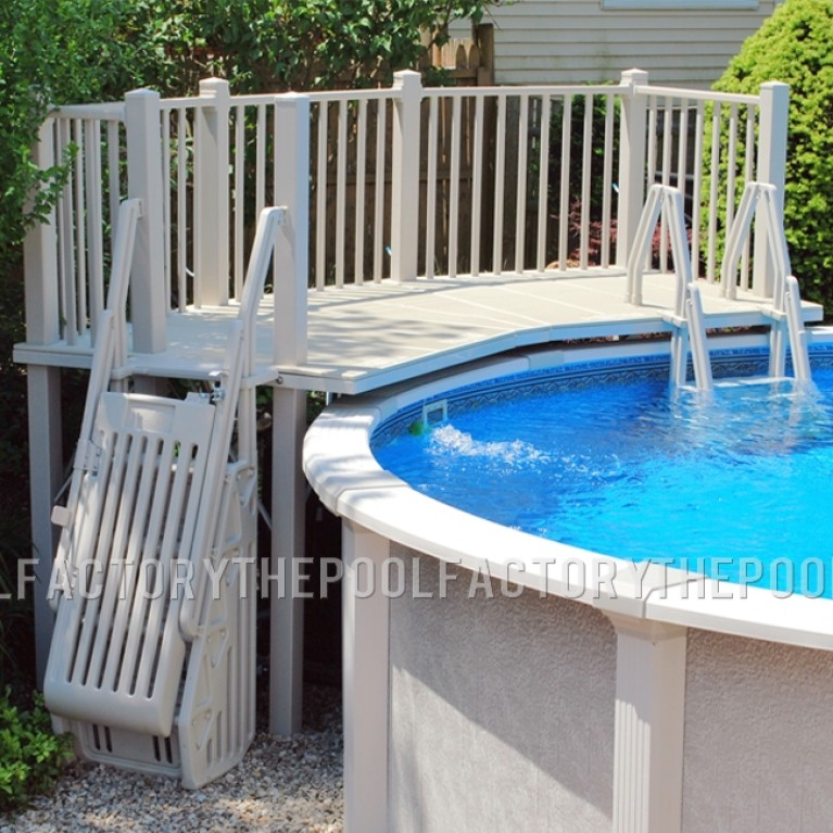 5'X13.5' Resin Pool Fan Deck With In-Pool & Ground to Deck Steps