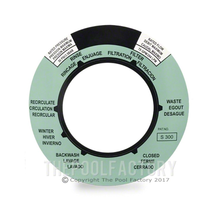 Label Sticker for Hydrotools Top Mount Sand Filter Valve