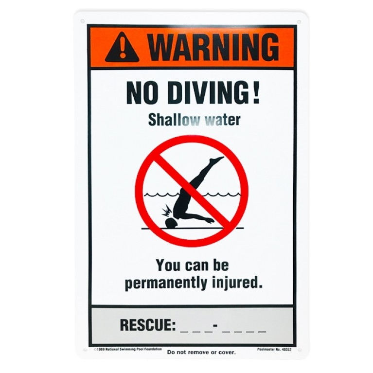 "12""x18"" NSPF No Diving Sign"