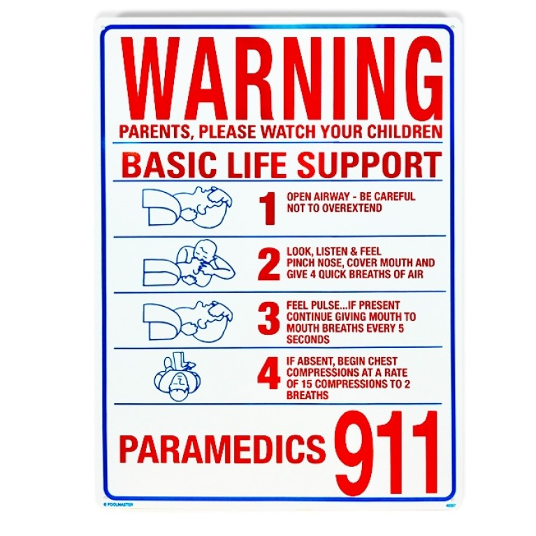"18""x24"" Basic Life Support Warning Sign"