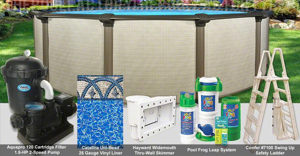 12 39 x54 melenia round pool package swimming pool kit for Pool packages